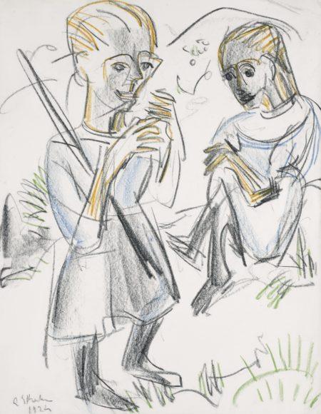 Ernst Ludwig Kirchner-Zwei Madchen Auf Der Wiese (Two Girls In A Meadow)-1924