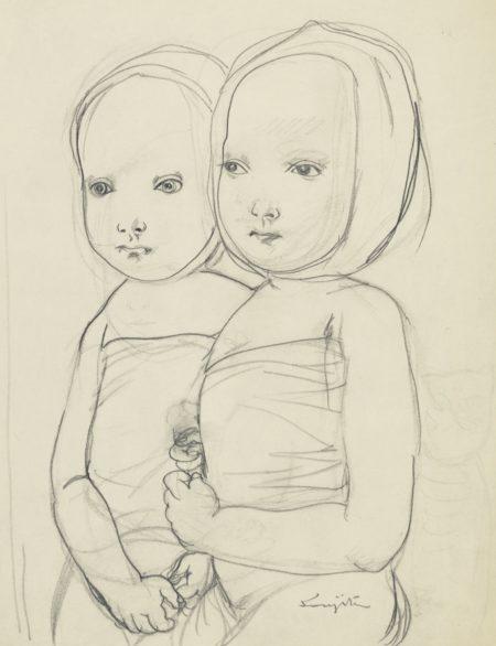 Tsuguharu Foujita-Les Jumelles-1955