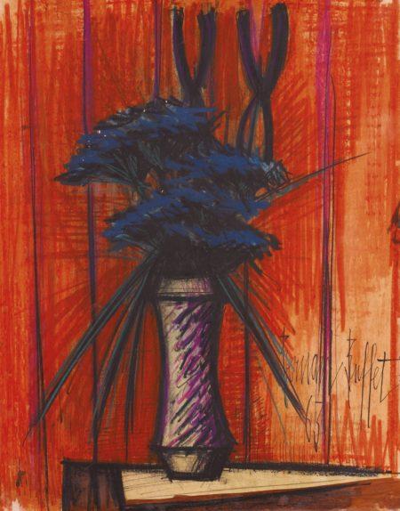 Bernard Buffet-Ombelles Et Iris Dans Un Vase-1963