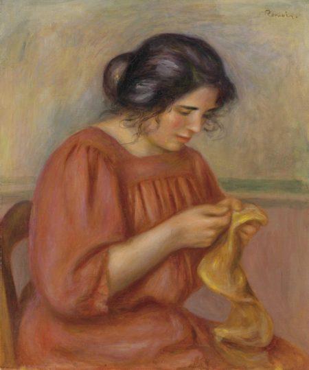 Pierre-Auguste Renoir-Gabrielle reprisant-1908