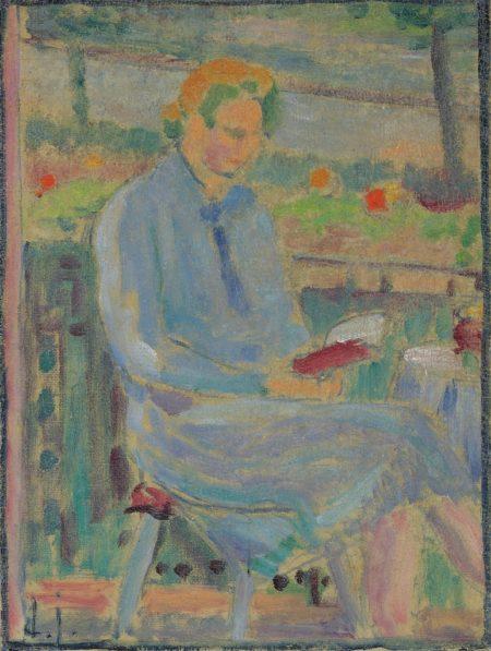 Alexej von Jawlensky-Lesende Frau (Bildnis Frau Toni Kirchhoff sitzend auf dem Balkon)-1927