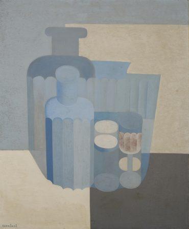 Amedee Ozenfant-Verres et bouteilles en bleu-1926