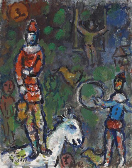 Marc Chagall-Clown sur le cheval blanc-1970