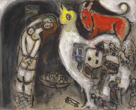 Marc Chagall-Le couple au poteau, esquisse-1951
