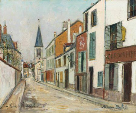 Maurice Utrillo-Rue Jean Durand et l'eglise, Stains (Seine-Saint-Denis)-1940