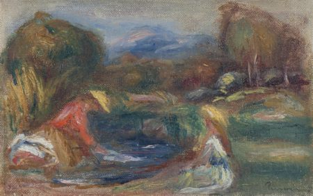 Pierre-Auguste Renoir-Paysage avec personnages, les lavandieres-1910