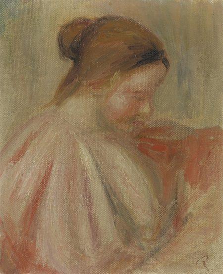 Pierre-Auguste Renoir-Tete de jeune fille de profil-1907