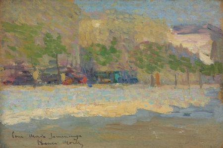 Henri Martin-Vue d'une ville, arbres et immeubles (recto); Esquisse de paysage (verso)-