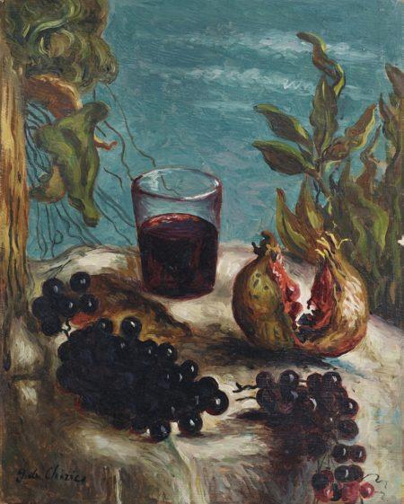 Giorgio de Chirico-Natura morta con bicchiere di vino-1932