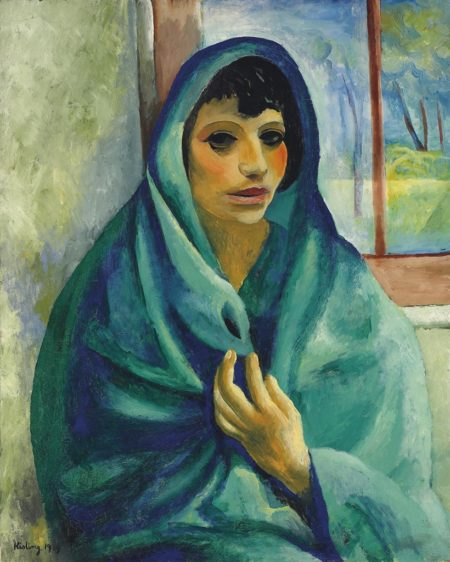 Moise Kisling-Jeune femme au chale vert-1919