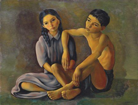 Moise Kisling-Frere et soeur-1952