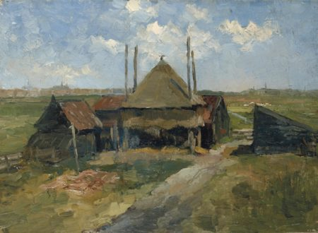 Piet Mondrian-Haystack and Farm Sheds in a Field-1885