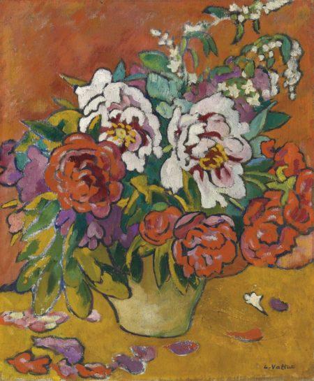 Louis Valtat-Pivoines, cruche beige fond rouge-1918
