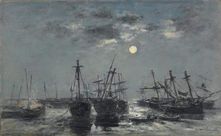 Eugene Louis Boudin-Portrieux. Bateaux echoues. Clair de lune-1873
