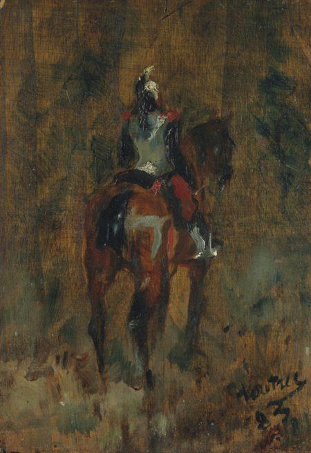 Henri de Toulouse-Lautrec-Cuirassier a cheval, vu de dos-1883