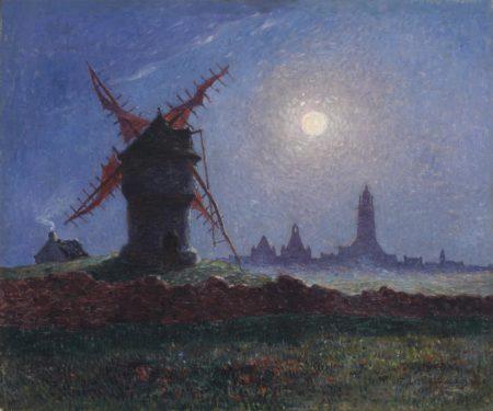 Ferdinand Du Puigaudeau-Moulin de la Masse au clair de lune (Bourg de Batz)-1906