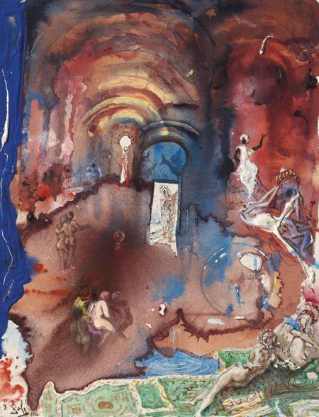 Salvador Dali-Harem fabuleux avec porte blanche et deux spheres-1966