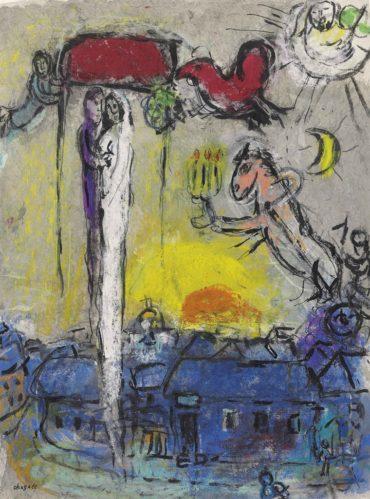 Marc Chagall-Maries sous le baldaquin dans le ciel du village-1960