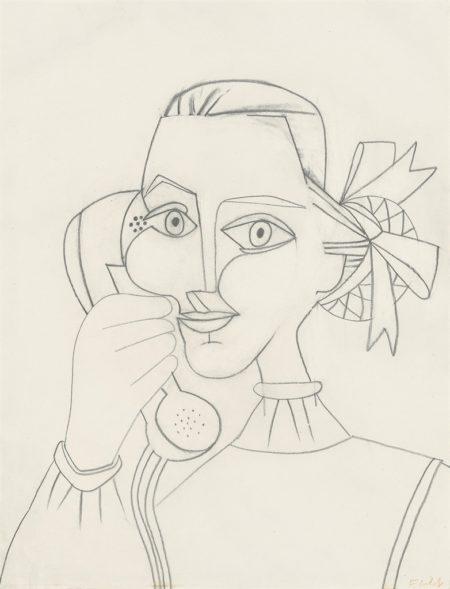 Francoise Gilot-Femme au telephone (Autoportrait)-1952