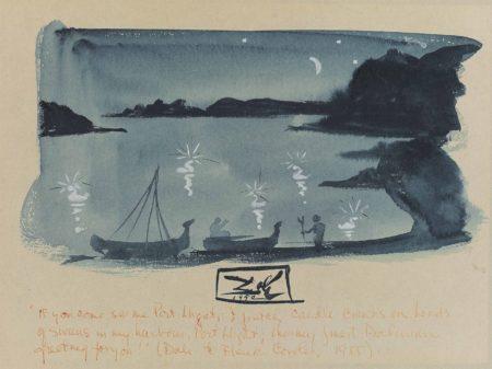 Salvador Dali-Clair de lune avec cygnes a Port Lligat-1950