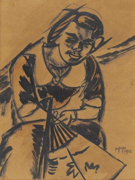 Max Pechstein-Frau mit Facher-1912