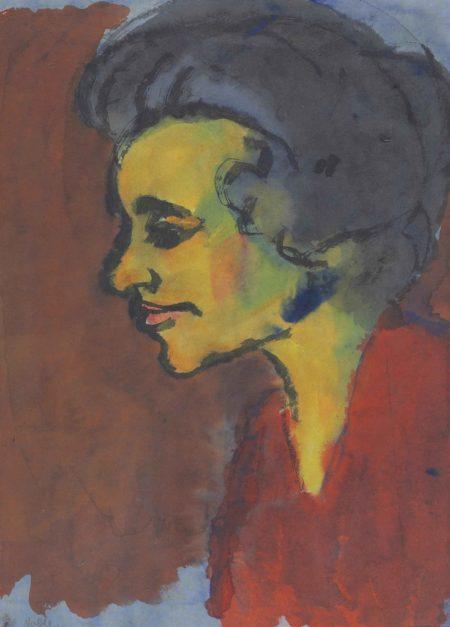 Emil Nolde-Frauenportrait im Profil nach links-1925