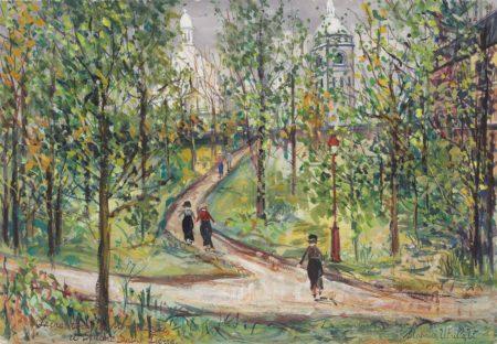Maurice Utrillo-Square Saint-Pierre et Sacre-Coeur, Montmartre-1935