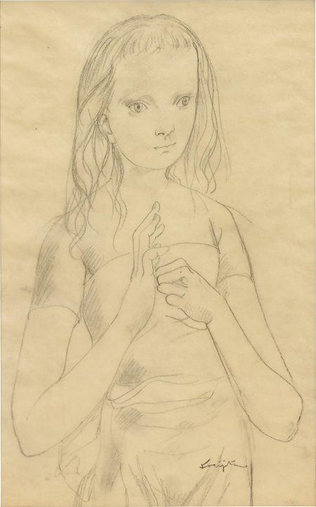 Tsuguharu Foujita-Jeune Fille A La Robe Bustier-