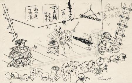 Tsuguharu Foujita-Scene de theatre-
