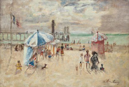 Andre Hambourg-Contre-jour sur la plage, Trouville-1952