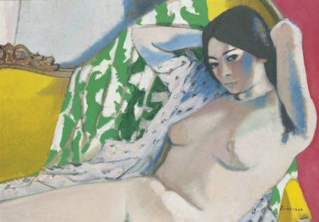 Maurice Brianchon-Nu assis sur un canape jaune-1948