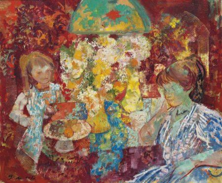 Emilio Grau Sala-Mere et enfant aux fleurs-1969