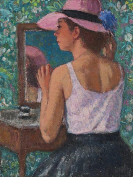 Francois Gall-Marie-Lize a la capeline rose devant le miroir-1978
