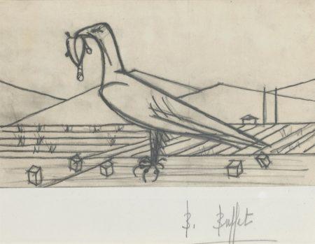 Bernard Buffet-Les Chants de Maldoro, oiseau avec une proie-1952