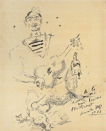 Salvador Dali-Le marin Enriquet Giro de la famille Dali jouant de la guitare-1928