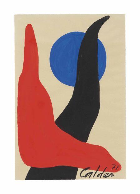 Alexander Calder-Red Boomerang, Blue Orb-1971