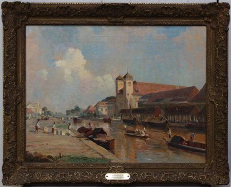 Ernest Dezentje-View of International Credit office and Handelsvereeniging Rotterdam on the Kali Besar in Batavia-