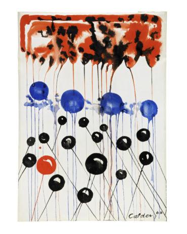 Alexander Calder-Ballons sur ciel rouge-1965