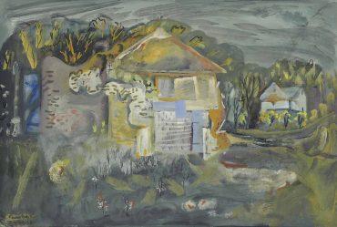 Frances Hodgkins-The Tithe Barn Cerne Abbas-1943