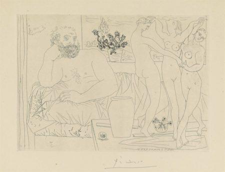 Pablo Picasso-Sculpteur et trois danseuses sculptées from: La Suite Vollard-1934