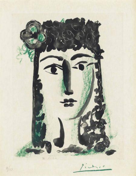 Pablo Picasso-Femme à la mantille avec une fleur from: Le Carmen des Carmen-1949