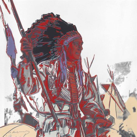 Andy Warhol-War Bonnet Indian from: Cowboys and Indians-1986