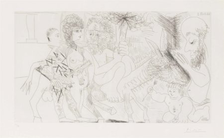 Pablo Picasso-Groupe avec vieillard à la torche sur un âne amoureux femme et arlequin from: Séries 347-1968