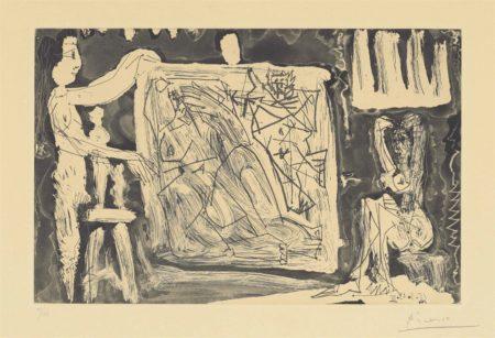 Pablo Picasso-Dans l'atelier-1965