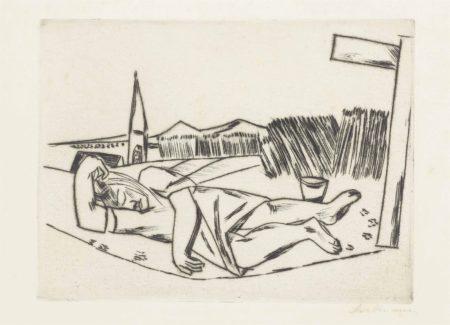 Max Beckmann-Schlafendes Mädchen im Kornfeld-1922