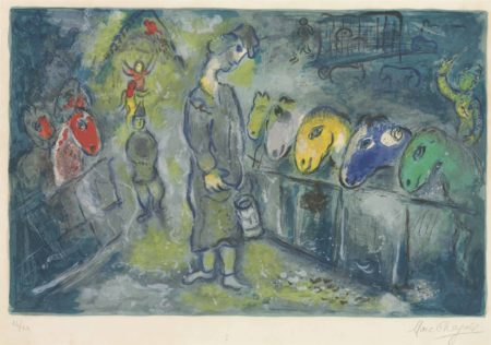 Marc Chagall-One plate from: Le Cirque-1967