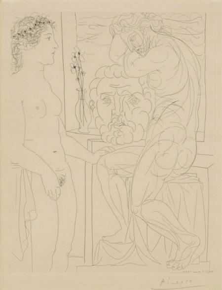 Pablo Picasso-Modèle nu et sculptures from: La Suite Vollard-1933