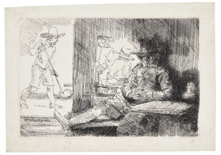Rembrandt van Rijn-The Ringball Player; And Man Drawing From A Cast (B. Holl. 125 130; New Holl. 282 192; H. 272 191)-1654
