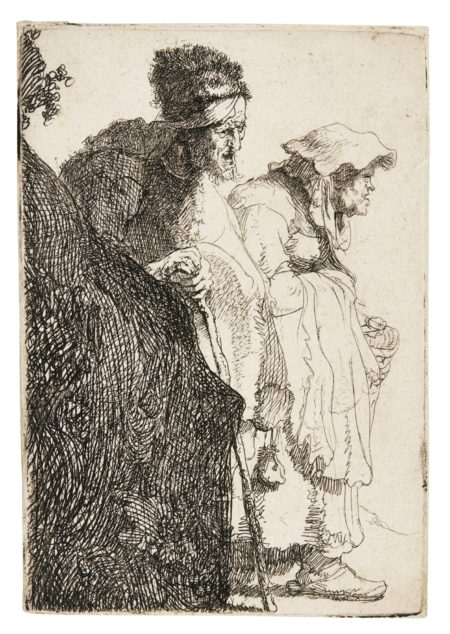 Rembrandt van Rijn-Beggar Man And Woman Behind A Bank (B. Holl. 165; New Holl. 51; H. 13)-1630