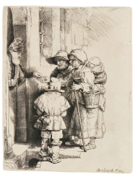 A Blind Hurdy-Gurdy Player And Family Receiving Alms (B. Holl. 176; New Holl. 243; H. 233)-1648